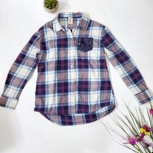 Arizona Jean's Co Girl's Plaid Shirt with Sequins